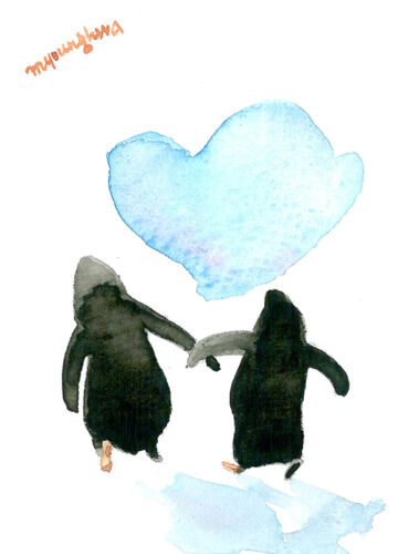 ACEO Limited Edition-We are together, Penguin art print of a watercolor