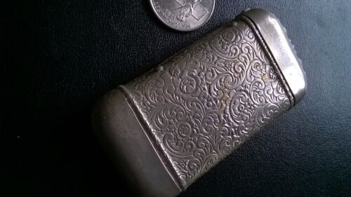 BEAUTIFUL ANTIQUE SILVERPLATE FLORAL MATCH SAFE