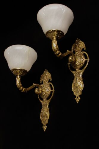 art nouveau  antique style wall lights fixtures bronze and real alabaster