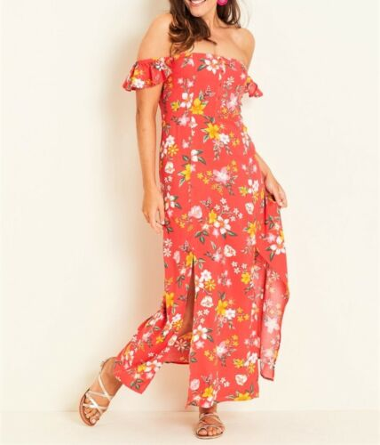 Crossroads Off The Shoulder / Cap Sleeve Floral Button Maxi Dress Size 14