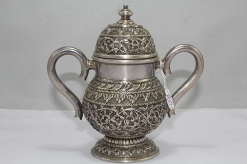 Traditional Handmade, Alloyed SILVER Urn Pot Hand Engraved Designs 340 Grams