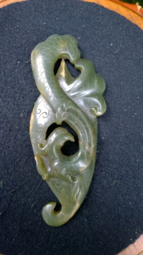 "Gorgeous Green Neprite Jade Phoenix on a Shield Shape 5 3/8""."