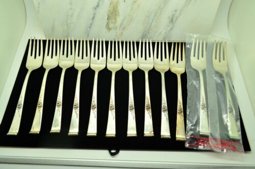 """LOT OF 12 STERLING SILVER REED & BARTON CLASSIC ROSE 6 1/2"""" SALAD FORKS"""