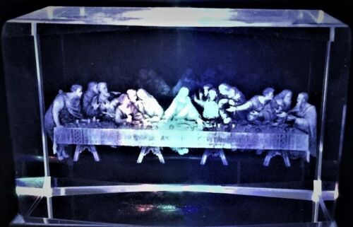 3D THE LAST SUPPER OF JESUS & 12 APOSTLES CRYSTAL Laser+4LED LIGHT NEW GIFT BOX