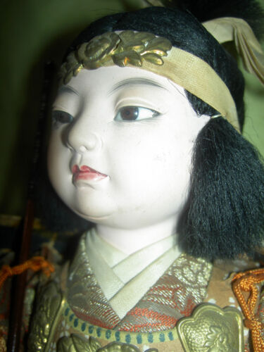 """Very fine, antique JAPANESE """"Onna-Bugeisha,"""" female warrior doll with glass eyes"""