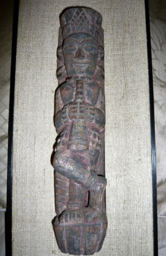 ANTIQUE INDIA HINDU TEMPLE MUSIC FIGURE  WOOD CARVING-FRAMED RAW SILK