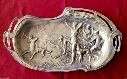 ANTIQUE WONDERFUL 92% ETAIN TIN ART NOVEAU ASH TRAY DIANA HUNTRESS 1900  FRANCE