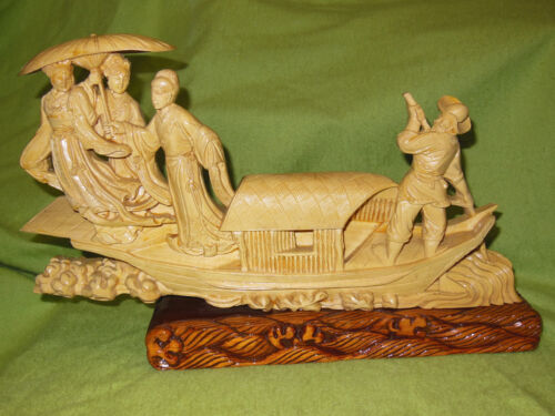 Old Wooden Relief Sculpture Man/Three Maidens/Umbrella/Sampan Boat Asian/Chinese
