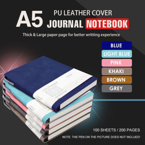 A5 Fashion Glued PU Leather Cover Journal Travel Notebook Travellers Diary AU