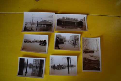 LOT OF 7 VINTAGE/ANTIQUE ORIGPHOTOGRAPHS~1936 FLOOD~ GLASTONBURY & HARTFORD,CONN