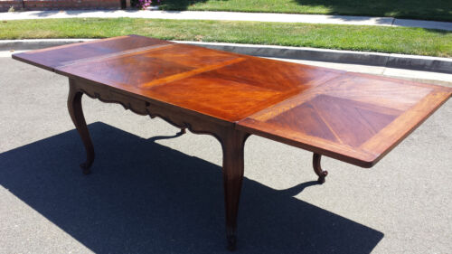 COUNTRY FRENCH DINING TABLE,HAND CARVING AROUND APRON ,BERNISH FINISH, DIAGONAL