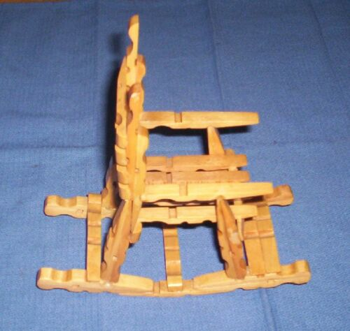 VINTAGE HANDMADE WOODEN CLOTHES PIN ROCKING CHAIR--DECORATOR OR DOLL FURNITURE