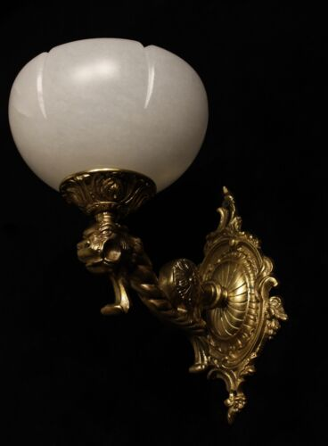 single solid bronze & white real alabaster wall lights sconces with lion head
