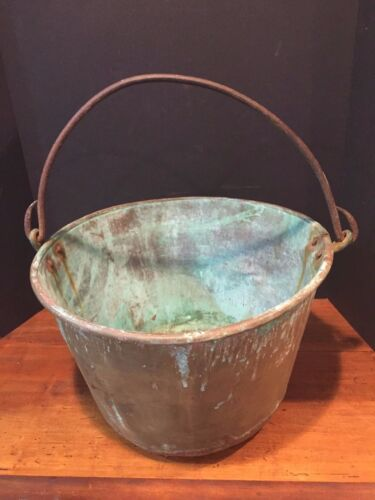 Large Antique Brass Jelly Bucket Pot Cauldron with Wrought Iron Handle