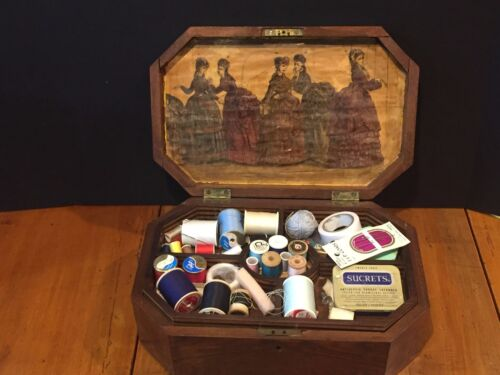 Antique Wooden Sewing Box with Victorian Dress Patterns