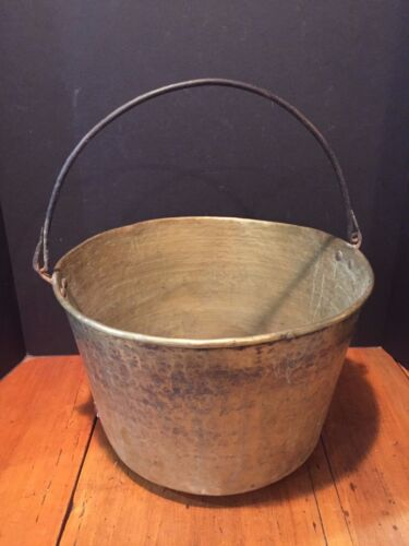 Large Antique Brass Jelly Cauldron Pot Bucket with Wrought Iron Handle