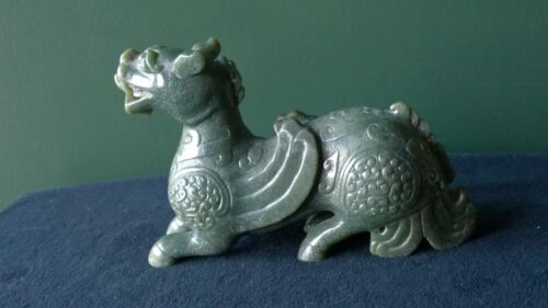 Exceptional Color and Carving Green Nephrite Winged Dragon Ancient Style 20th C.