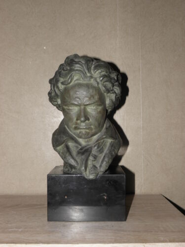 Nice mounted bronze bust of Beethoven signed A. Veriac buste marble old vintage