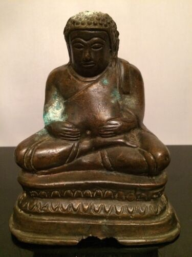 Amazing! Antique 18th.c. Ming Dynasty Chinese Bronze Figure Statue of BUDDHA