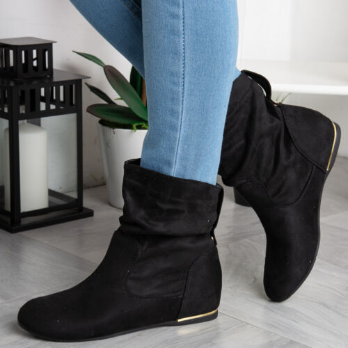 Womens Wedge Boots Ladies Hidden Slouch Low Heel Ankle Faux Suede Shoes Size