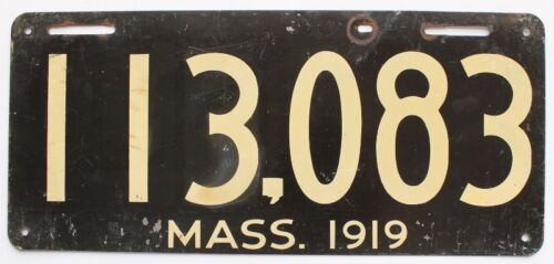 Massachusetts 1919 Flat-Painted License Plate, 113 083, High Quality, Antique