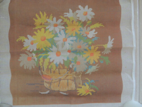 """BASKET FLORAL Needlepoint  by -SUNSET DESIGN -16"""" x 15 1/2 """"OUTSIDE 19X 20"""