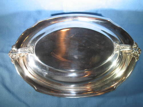 Vintage Holmes & Edwards #2012 Spring Garden Silverplate Oval Serving Bowl w/Lid