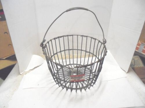 metal wire eggs basket wapsie cafeteria mash flower garden porch decor E