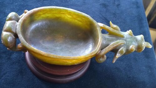 Large Antique Jade Brush Washer With Head and Tail of Disappearing Ox Dragon.