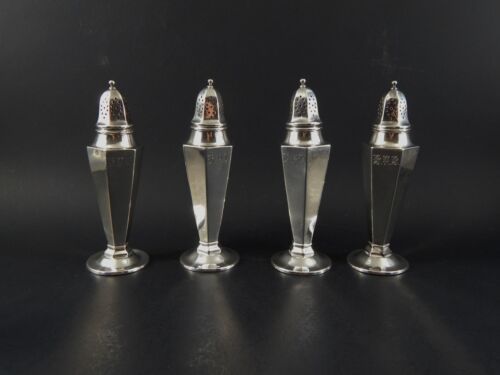 """Set Four Whiting Gorham Sterling Silver Salt Pepper Shakers # 3705 Mono 5"""" 1924"""