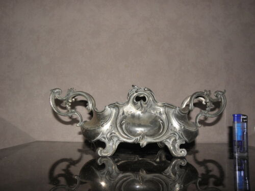 Center table old antique piece Flower art nouveau Silvered Pewter plants centre