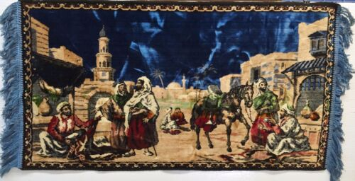 """Vintage Middle Eastern Outdoor Market Scene Vibrant Colored Tapestry 21"""" x 40"""""""