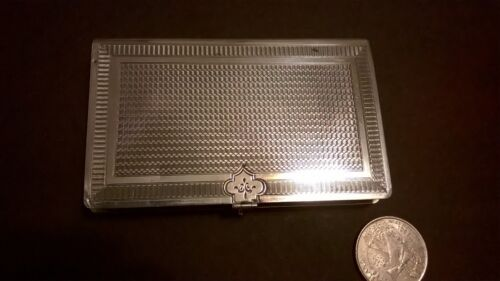 Antique Book form card case in coin silver has gilt washed interior