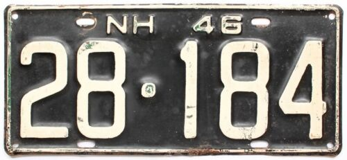 New Hampshire 1946 License Plate, Original Paint, Single Plate Year