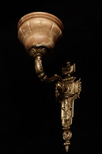 single  wall sconces  french  antique style  solid bronze and real alabaster