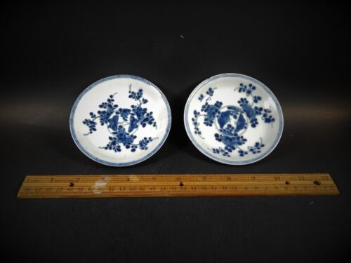Pair 18th C Chinese Export Blue and Batavia Brown Saucer Dishes Yongzheng 1725