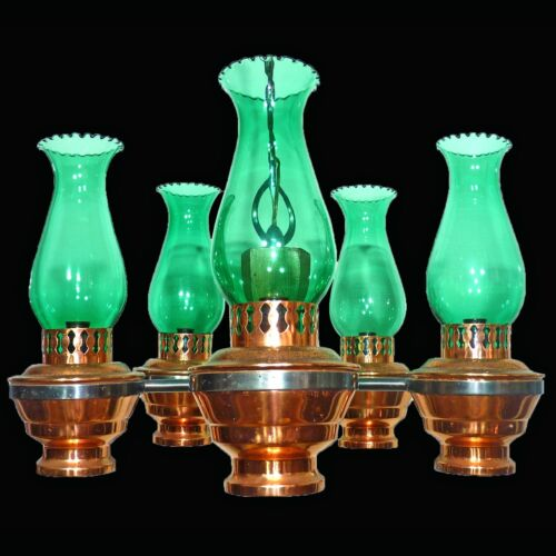 Colonial French Country Copper & Wood Chandelier/ Oil Lamp w Green Glass Shades
