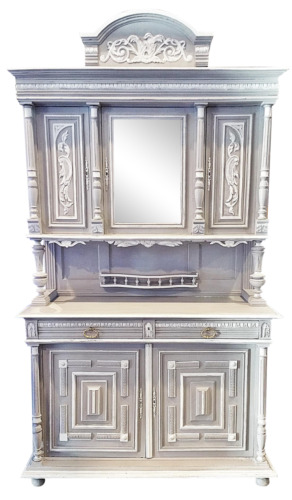 1880s ANTIQUE French Painted Hutch BUFFET