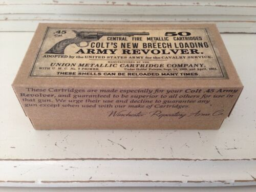 DECO 45 Long Colt Army Revolver Ammo box cartridges Old West Western