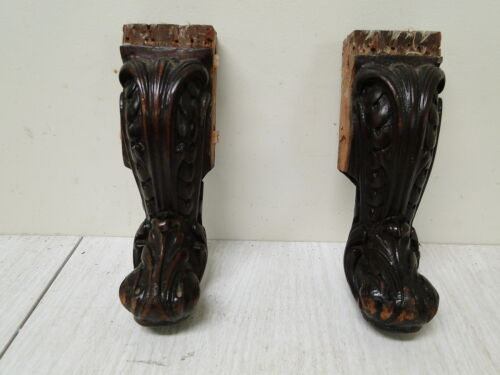 Vintage Pair of Solid Mahogany French Carved Feet Legs
