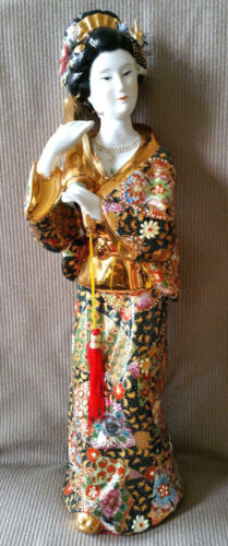 SATSUMA Style Geisha Porcelain Figurine Statue Sculpture Gold Umbrella Figure