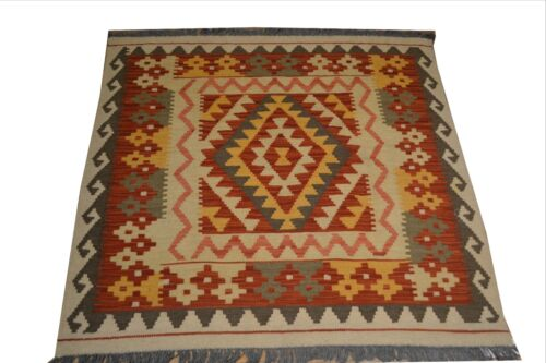 """Crafters&Weavers Oriental Kilim Tribal Vegetables Dyes size 3' 4""""  x 3' 4"""" #3293"""