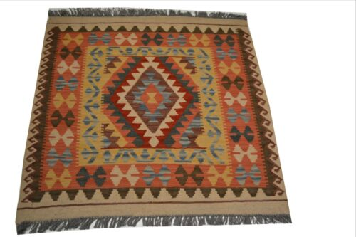 """Crafters&Weavers Oriental Kilim Tribal Vegetables Dyes size 3' 2""""  x 3' 4"""" #3296"""