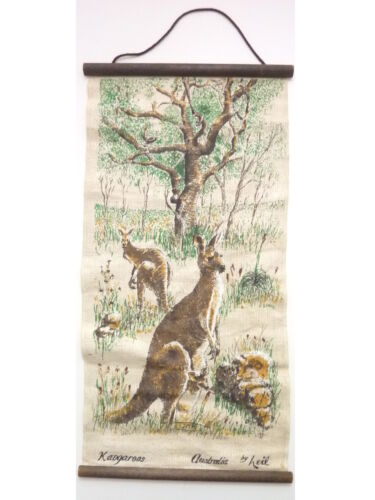 """Kangaroos Australian Outback Souvenir Painted Wall Hanging by Leil 12"""" x 23"""""""