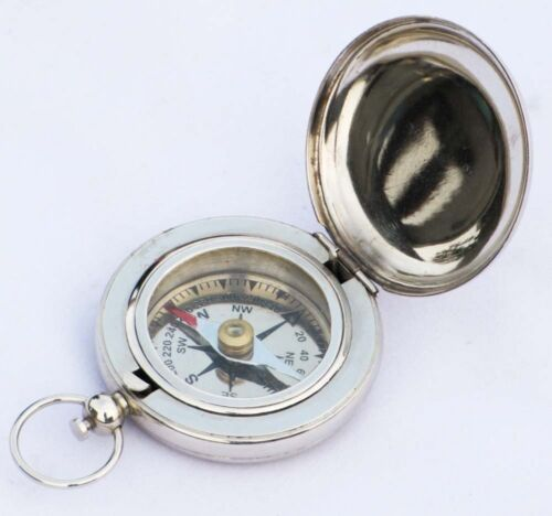 NICKLE COMPASS PUSH BUTTON COMPASS NAUTICAL COMPASS ENGRAVED COMPASS Brass Soli
