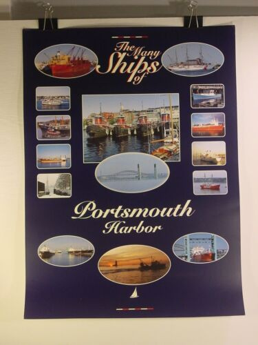 """Poster """"The Many Ships of Portsmouth Harbor"""" - New Hampshire Maritime Tugboats"""