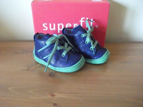 Boys SUPERFIT 334 Navy LEATHER Lace ANKLE BOOT Size UK 3 EUR 18 NEW!