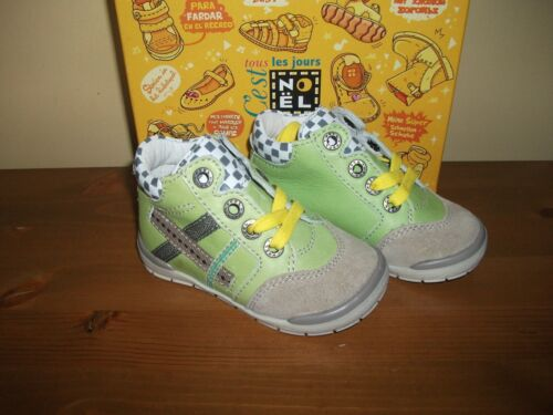 Boys NOEL 'Mini Prince' Lime Green LEATHER Lace TRAINER/BOOT UK 4 Eur 20 NEW!