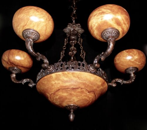 Light fixture chandelier 9 lights solid bronze real alabaster made in America