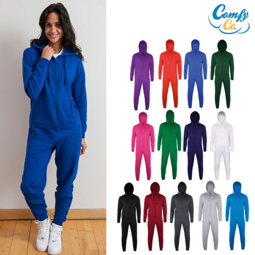 Comfy Co Ladies/Mens All In One Jumpsuit (CC001) - Hood Zip Up Jumpsuit